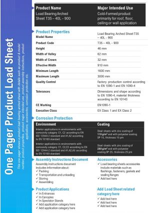 One Pager Product Load Sheet Presentation Report Infographic PPT PDF Document