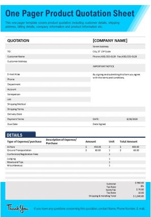 One Pager Product Quotation Sheet Presentation Report Infographic PPT PDF Document