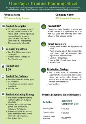 One Pager Product Research Planning Sheet Presentation Report Infographic PPT PDF Document