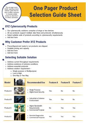 One Pager Product Selection Guide Sheet Presentation Report Infographic PPT PDF Document