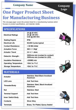 One Pager Product Sheet For Manufacturing Business Presentation Report Infographic PPT PDF Document