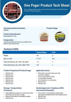 One Pager Product Tech Sheet Presentation Report Infographic PPT PDF Document