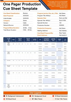 One Pager Production Cue Sheet Template Presentation Report Infographic PPT PDF Document