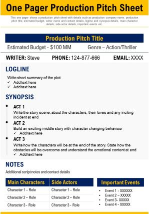 One Pager Production Pitch Sheet Presentation Report Infographic PPT PDF Document