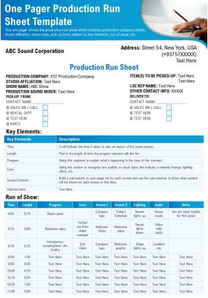 One Pager Production Run Sheet Template Presentation Report Infographic PPT PDF Document