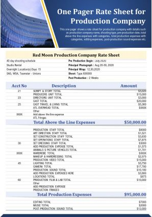 One Pager Rate Sheet For Production Company Presentation Report Infographic PPT PDF Document