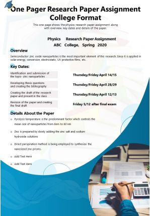One Pager Research Paper Assignment College Format Presentation Report Infographic PPT PDF Document