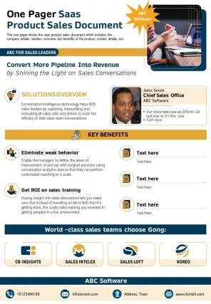 One Pager Saas Product Sales Document Presentation Report Infographic PPT PDF Document