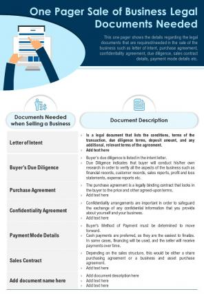One Pager Sale Of Business Legal Documents Needed Presentation Report PPT PDF Document