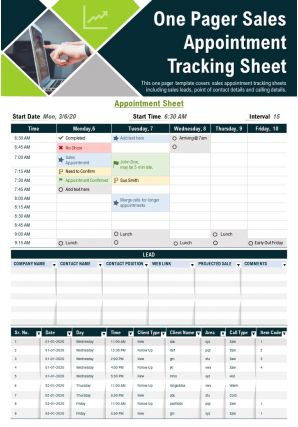 One Pager Sales Appointment Tracking Sheet Presentation Report PPT PDF Document