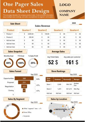 One Pager Sales Data Sheet Design Presentation Report Infographic PPT PDF Document