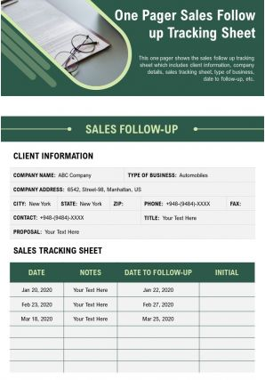 One Pager Sales Follow Up Tracking Sheet Presentation Report Infographic PPT PDF Document