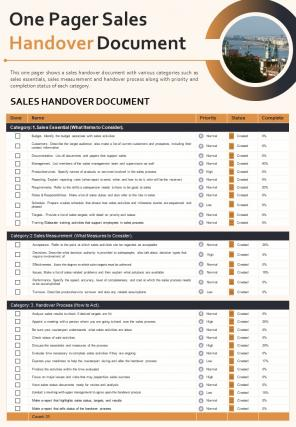 One Pager Sales Handover Document Presentation Report Infographic PPT PDF Document