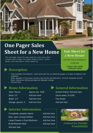 One Pager Sales Sheet For A New Home Presentation Report Infographic PPT PDF Document