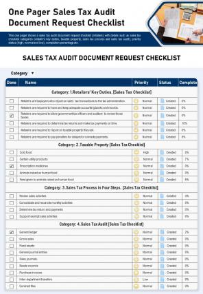 One Pager Sales Tax Audit Document Request Checklist Presentation Report PPT PDF Document