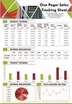 One Pager Sales Tracking Sheet Presentation Report Infographic PPT PDF Document