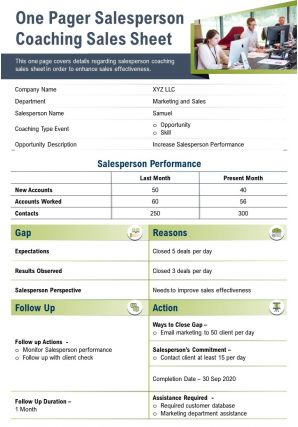 One Pager Salesperson Coaching Sales Sheet Presentation Report Infographic PPT PDF Document