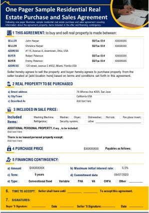 One Pager Sample Residential Real Estate Purchase And Sales Agreement Report PPT PDF Document