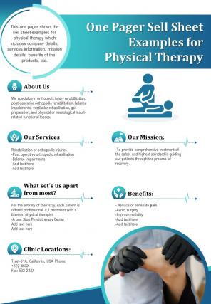 One Pager Sell Sheet Examples For Physical Therapy Presentation Report Infographic PPT PDF Document