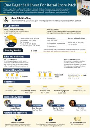 One Pager Sell Sheet For Retail Store Pitch Presentation Report Infographic PPT PDF Document