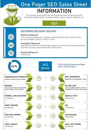 One Pager SEO Sales Sheet Presentation Report Infographic PPT PDF Document