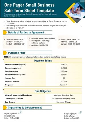 One Pager Small Business Sale Term Sheet Template Presentation Report Infographic PPT PDF Document