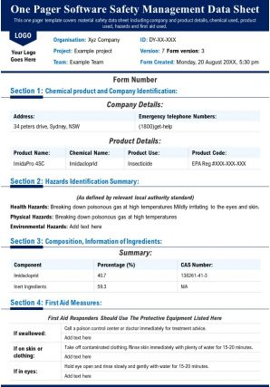 One Pager Software Safety Management Data Sheet Presentation Report Infographic PPT PDF Document