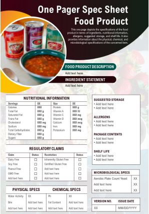 One Pager Spec Sheet Food Product Presentation Report Infographic PPT PDF Document