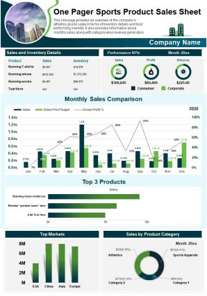 One Pager Sports Product Sales Sheet Presentation Report Infographic PPT PDF Document