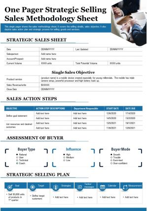One Pager Strategic Selling Sales Methodology Sheet Report PPT PDF Document