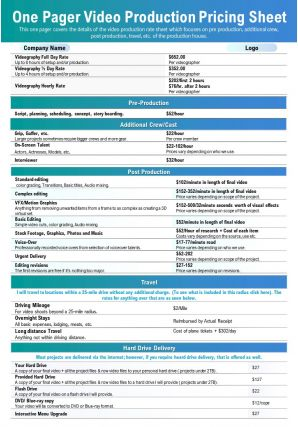 One Pager Video Production Pricing Sheet Presentation Report Infographic PPT PDF Document