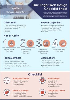One Pager Web Design Checklist Sheet Presentation Report Infographic PPT PDF Document