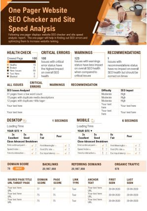 One Pager Website SEO Checker And Site Speed Analysis PPT PDF Document