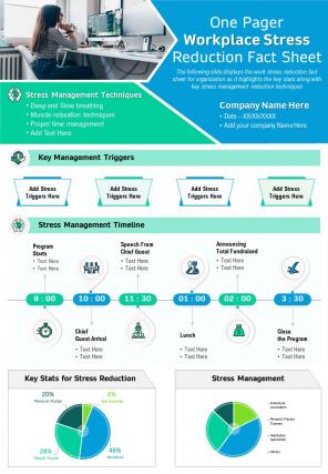 One Pager Workplace Stress Reduction Fact Sheet Presentation Report Infographic PPT PDF Document