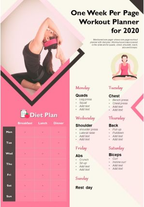 One Week Per Page Workout Planner For 2020 Presentation Report Infographic PPT PDF Document