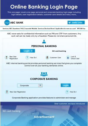 Online Banking Login Page Presentation Report Infographic PPT PDF Document