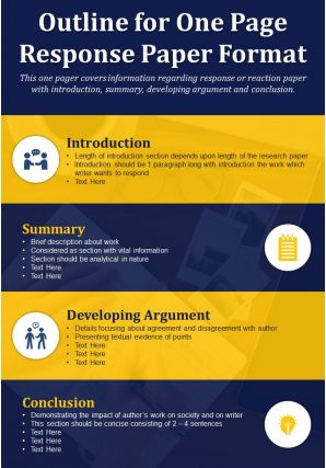 Outline For One Page Response Paper Format Presentation Report Infographic PPT PDF Document