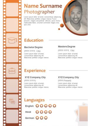 Photographer Resume CV Format With Experience