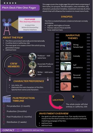 Pitch Deck Film One Pager Presentation Report Infographic PPT PDF Document