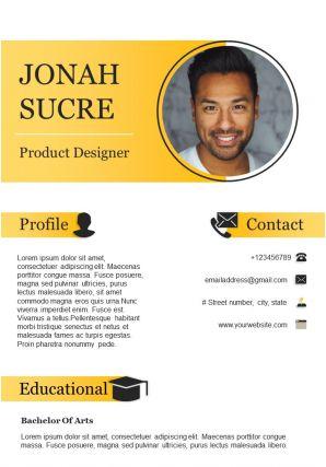 Product Designer Resume Sample For Job Opportunity CV Template