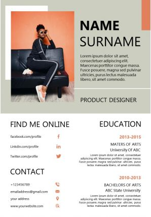 Product Designer Resume Sample Template