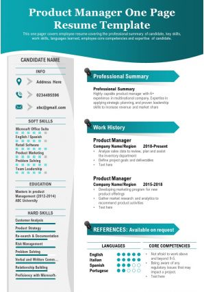 Product Manager One Page Resume Template Presentation Report Infographic PPT PDF Document