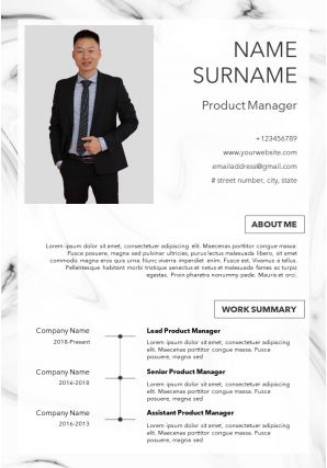 Product Manager Resume Template With Work Summary