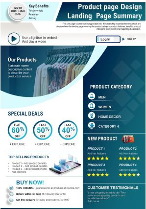 Product Page Design Landing Page Summary Presentation Report Infographic PPT PDF Document