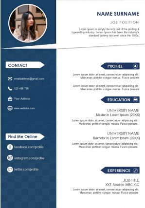 Professional Curriculum Vitae Sample Template