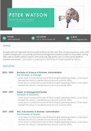 Professional Curriculum Vitae Summary Statement Format