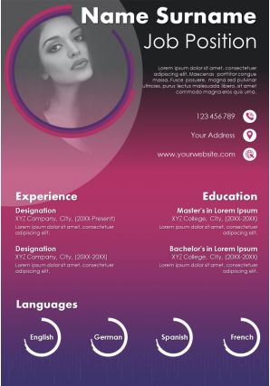 Professional Curriculum Vitae With Personal Details