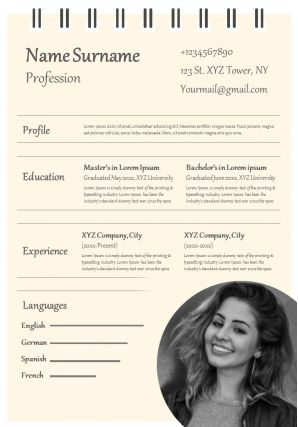 Professional CV Example Format With Hobbies And Interest