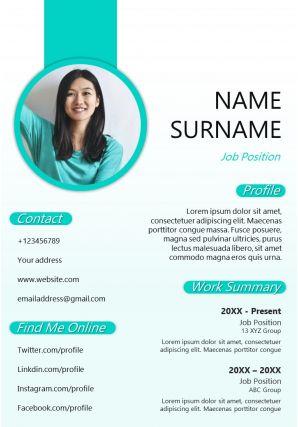 Professional CV Sample Design Editable A4 Resume Template