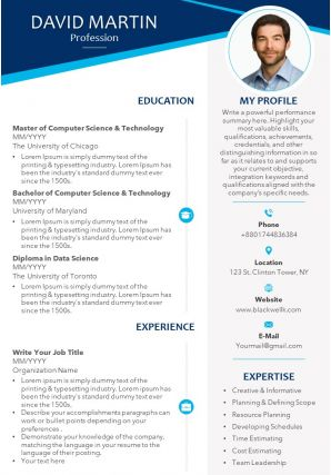Professional CV Template With Educational Details And Professional Skills